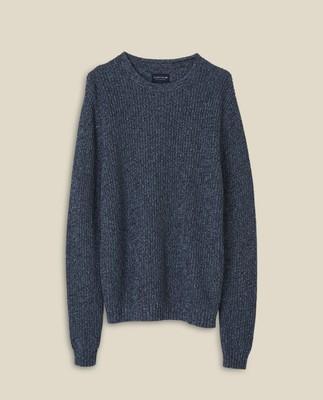 Claude Organic Cotton Twisted Yarn Sweater, Multi Blue