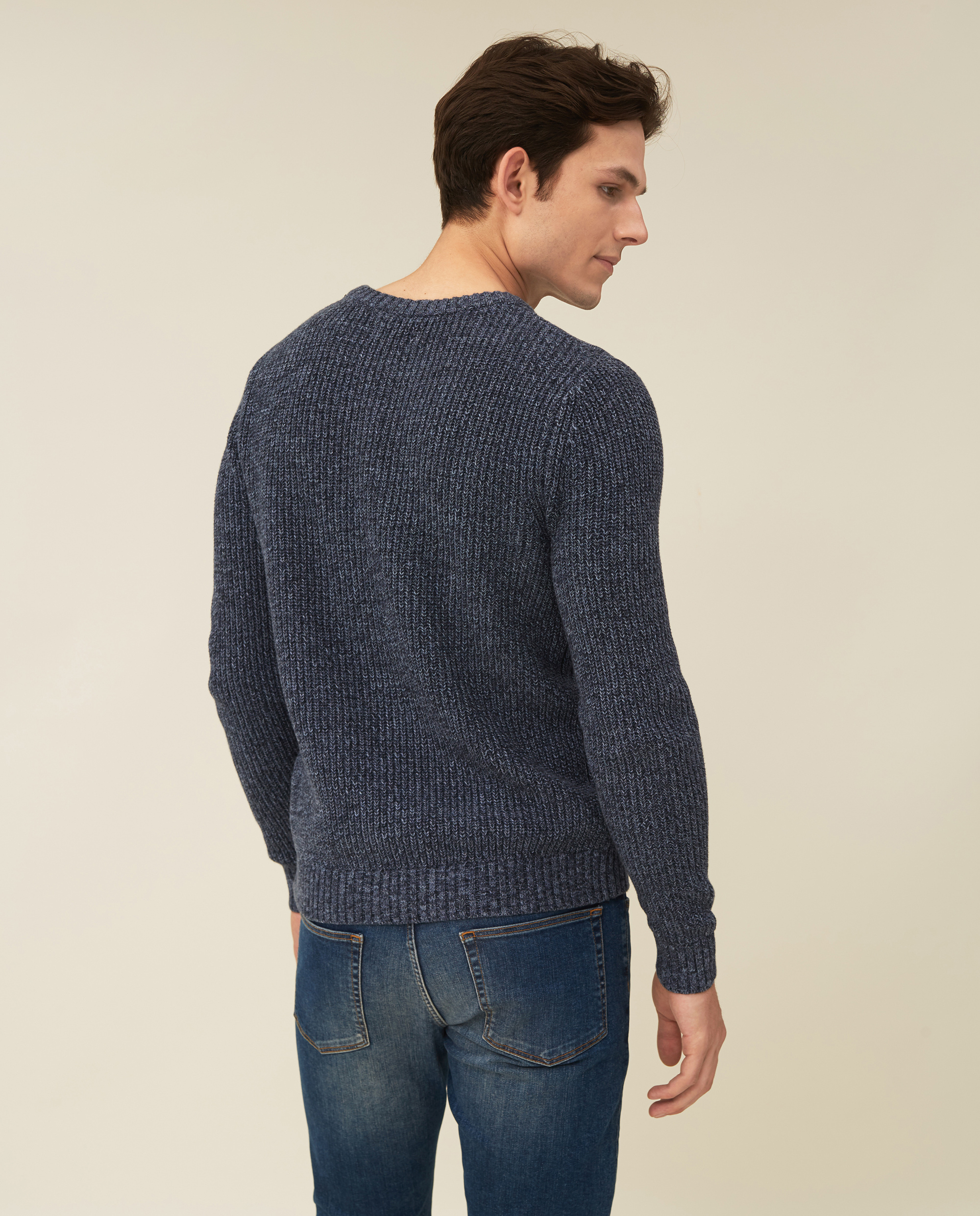 Claude Organic Cotton Twisted Yarn Sweater, Multi Blue