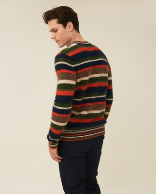 Monty Mohair Blend Striped Sweater, Multi Stripe