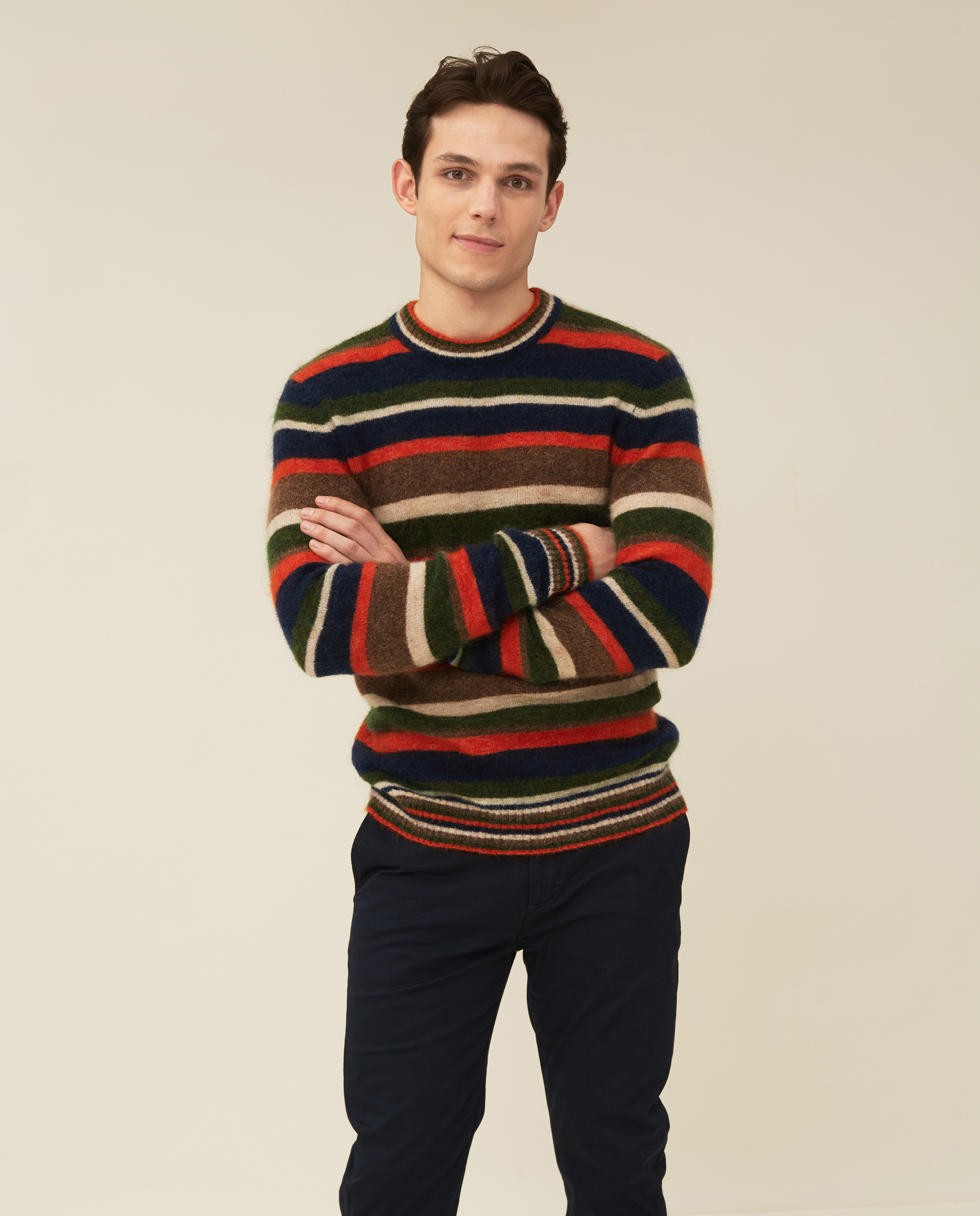 Monty Mohair Blend Striped Sweater, Multi Stripe