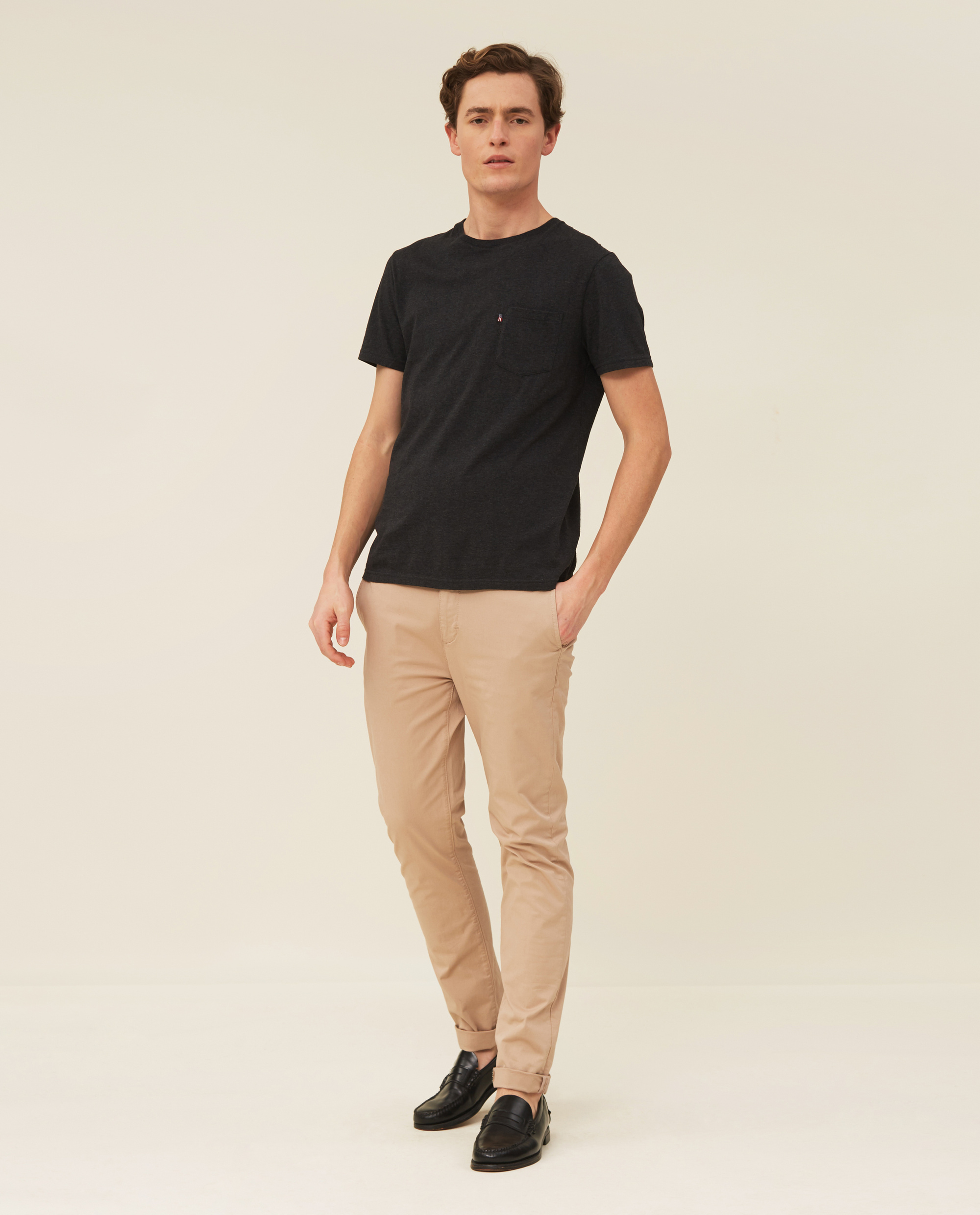 Travis Organic Cotton Tee, Dark Gray Melange