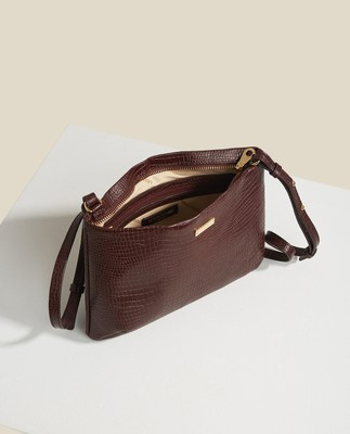 Trudy Croco Leather Zip Bag