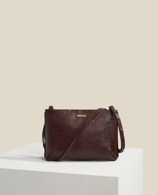 Trudy Croco Leather Zip Bag