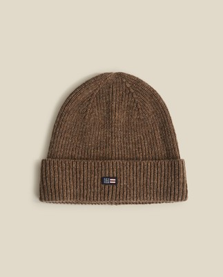 Stockton Lambswool Beanie, Brown Melange