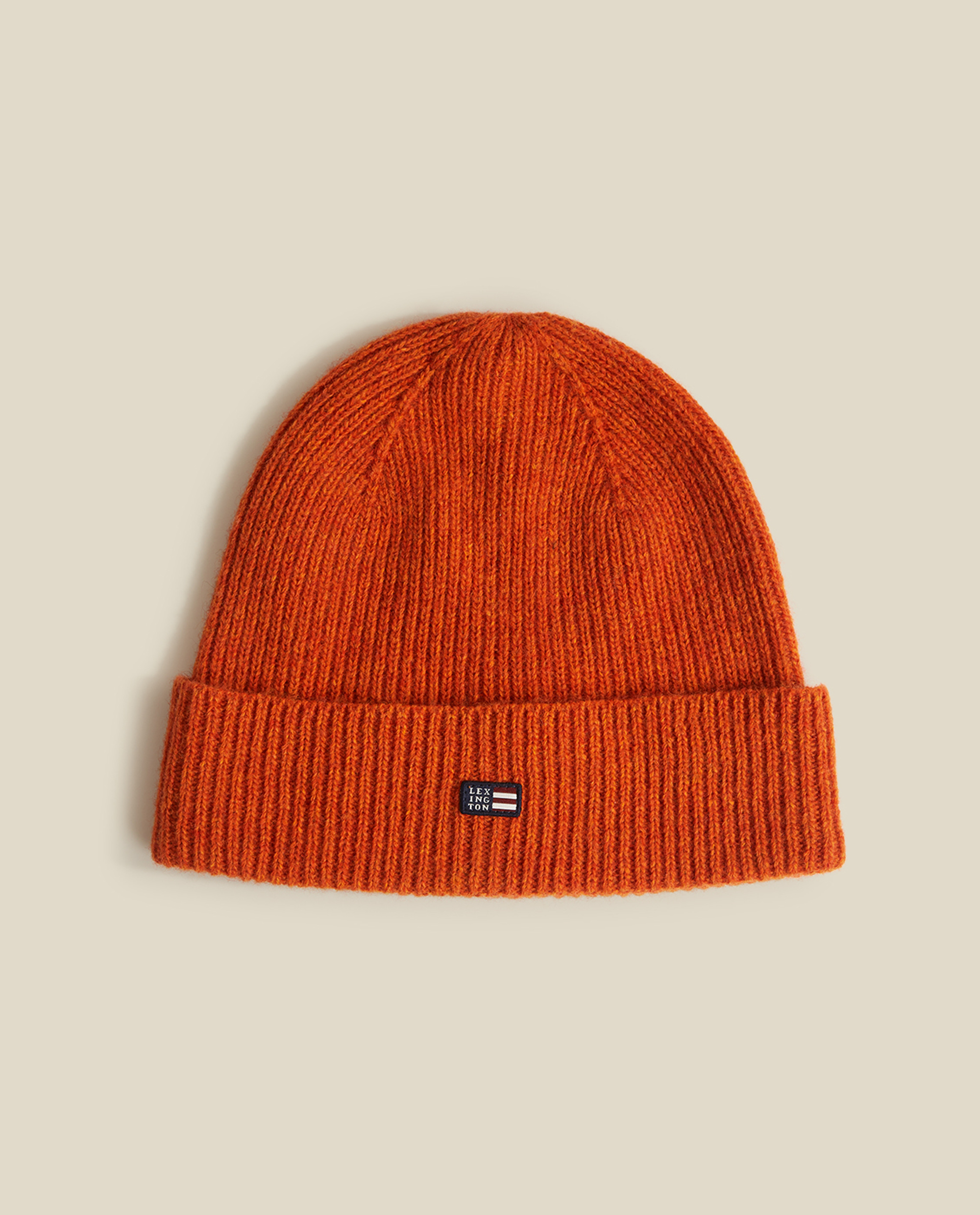 Stockton Lambswool Beanie, Orange Melange