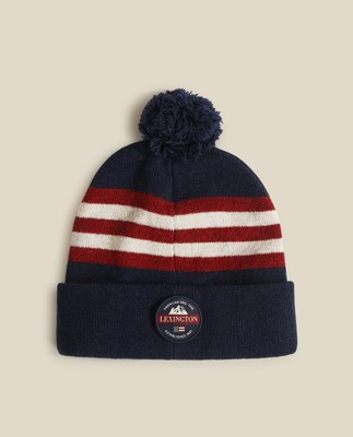 West Lambswool Beanie, Dark Blue