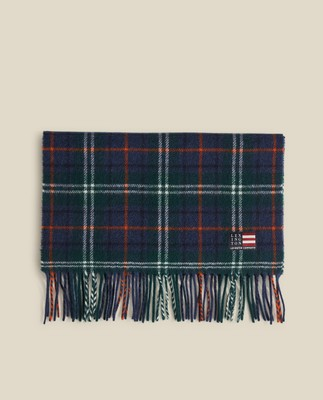 Massachussets Recycled Wool Blend Scarf, Green Multi Check
