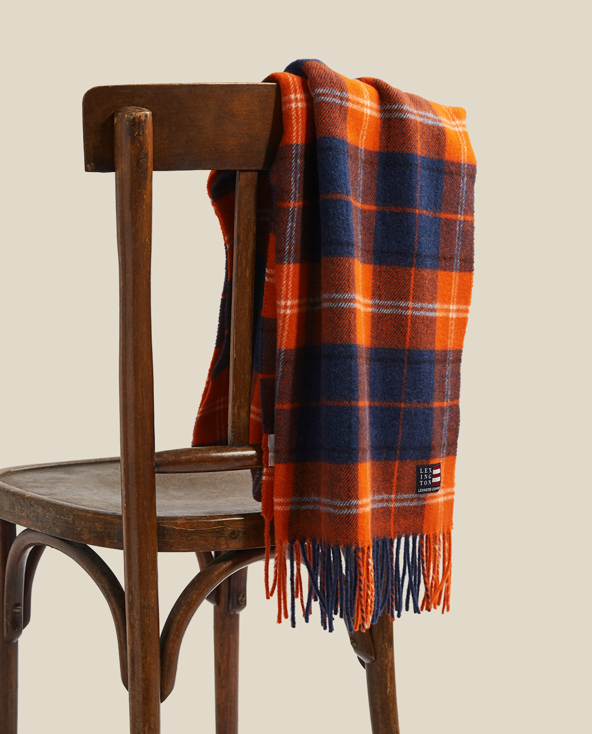 Massachussets Recycled Wool Blend Scarf, Orange Multi Check