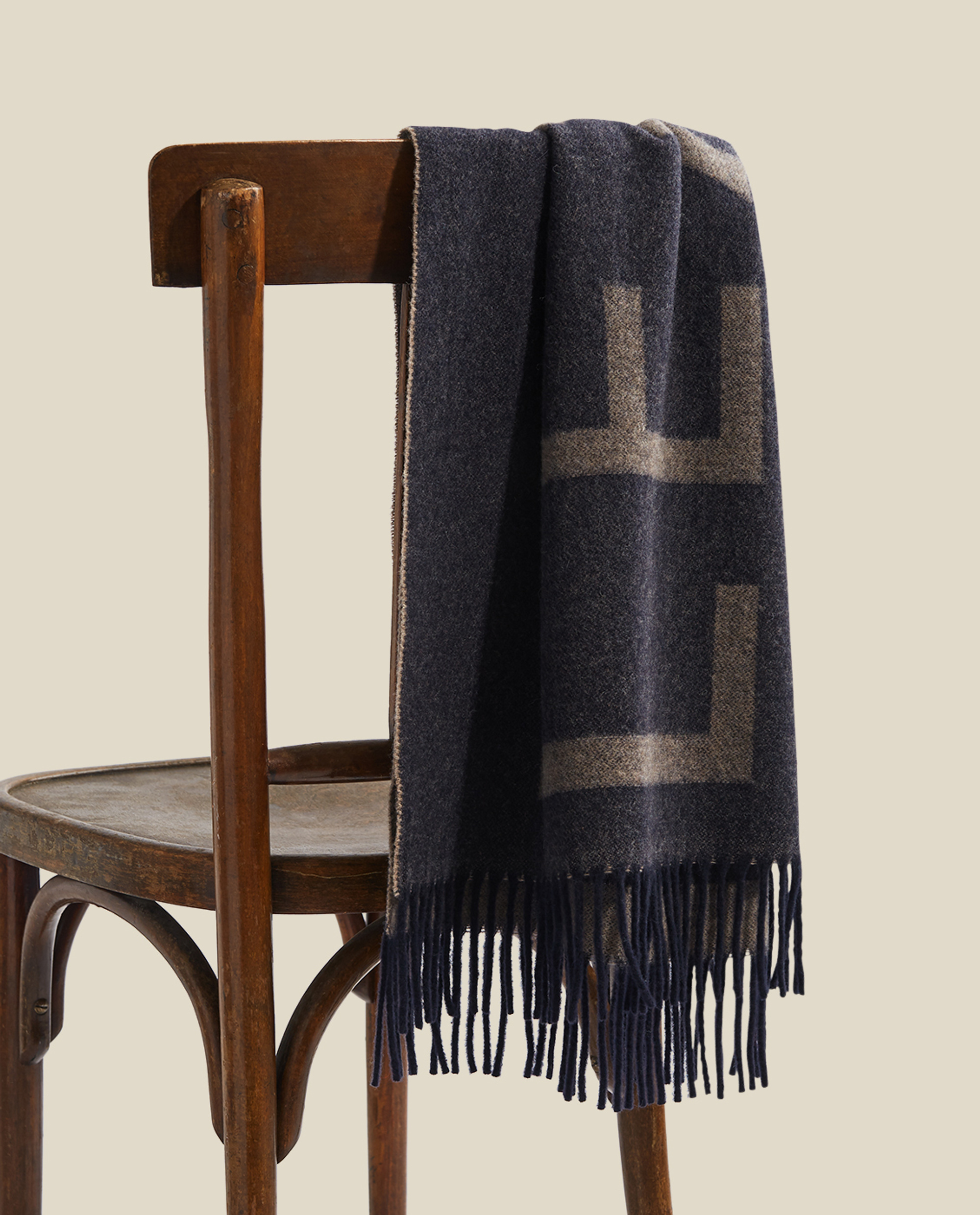 Aurora Recycled Wool Blend Scarf, Dark Blue/Beige