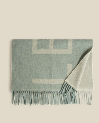 Aurora Recycled Wool Blend Scarf, Light Blue/White