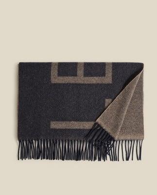 Aurora Recycled Wool Blend Scarf, Dark Blue/Beige