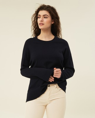 Lizzie Cotton/Cashmere Sweater, Dark Blue