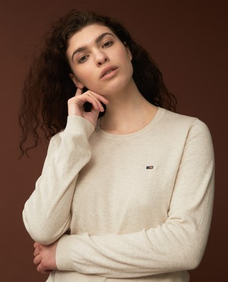 Marline Organic Cotton Sweater, Offwhite Melange