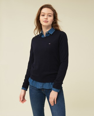 Marline Organic Cotton Sweater, Dark Blue