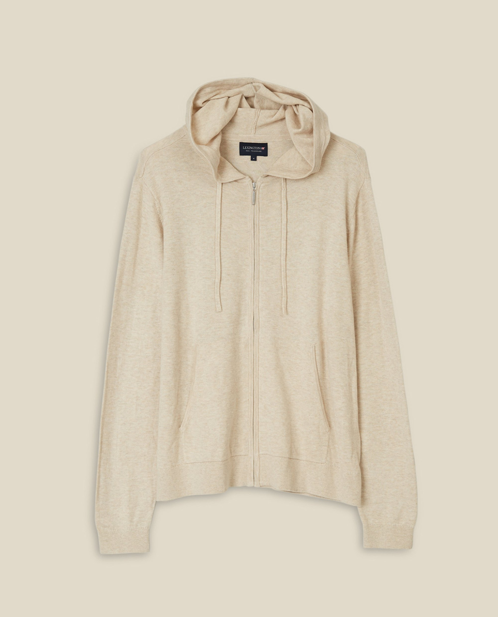 June Cotton/Bamboo Knitted Hoodie, Offwhite