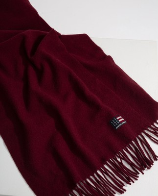 Massachussets Recycled Wool Blend Scarf, Dark Red