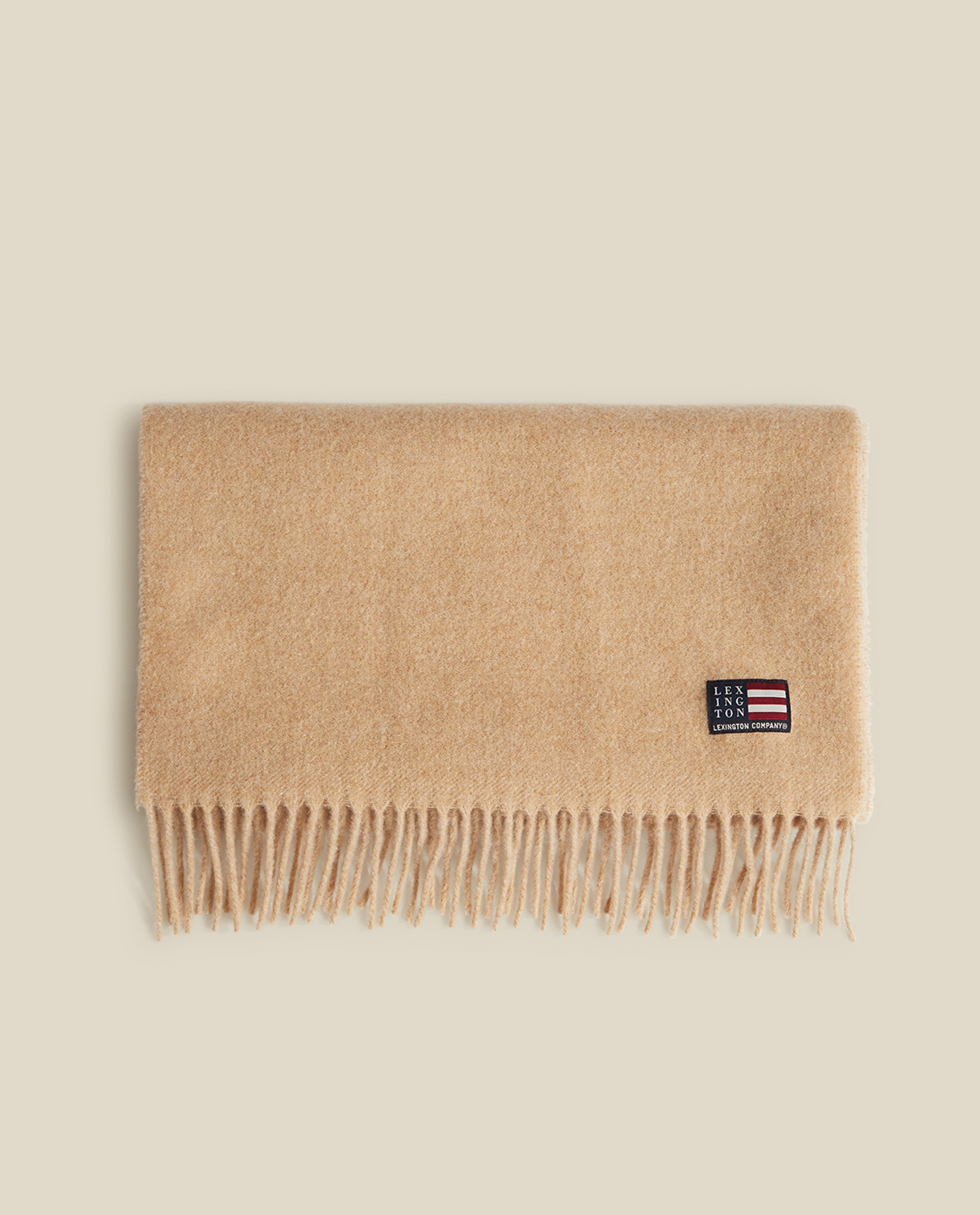 Massachussets Recycled Wool Blend Scarf, Light Beige Melange