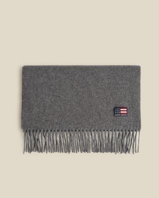 Massachussets Recycled Wool Blend Scarf, Gray Melange