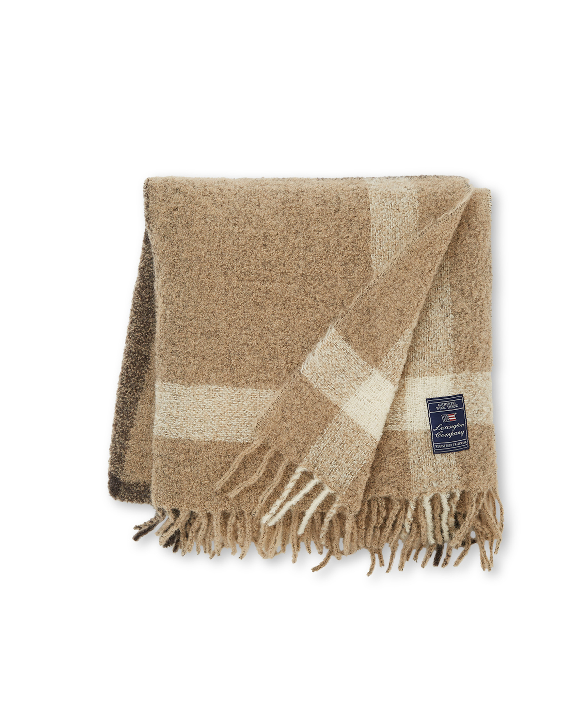 Checked Bouclé Throw, Beige/Brown