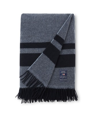 Herringbone Recycled Wool Throw, Blue