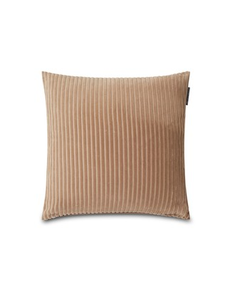 Velvet Cord Cotton Pillow Cover, Dark Beige