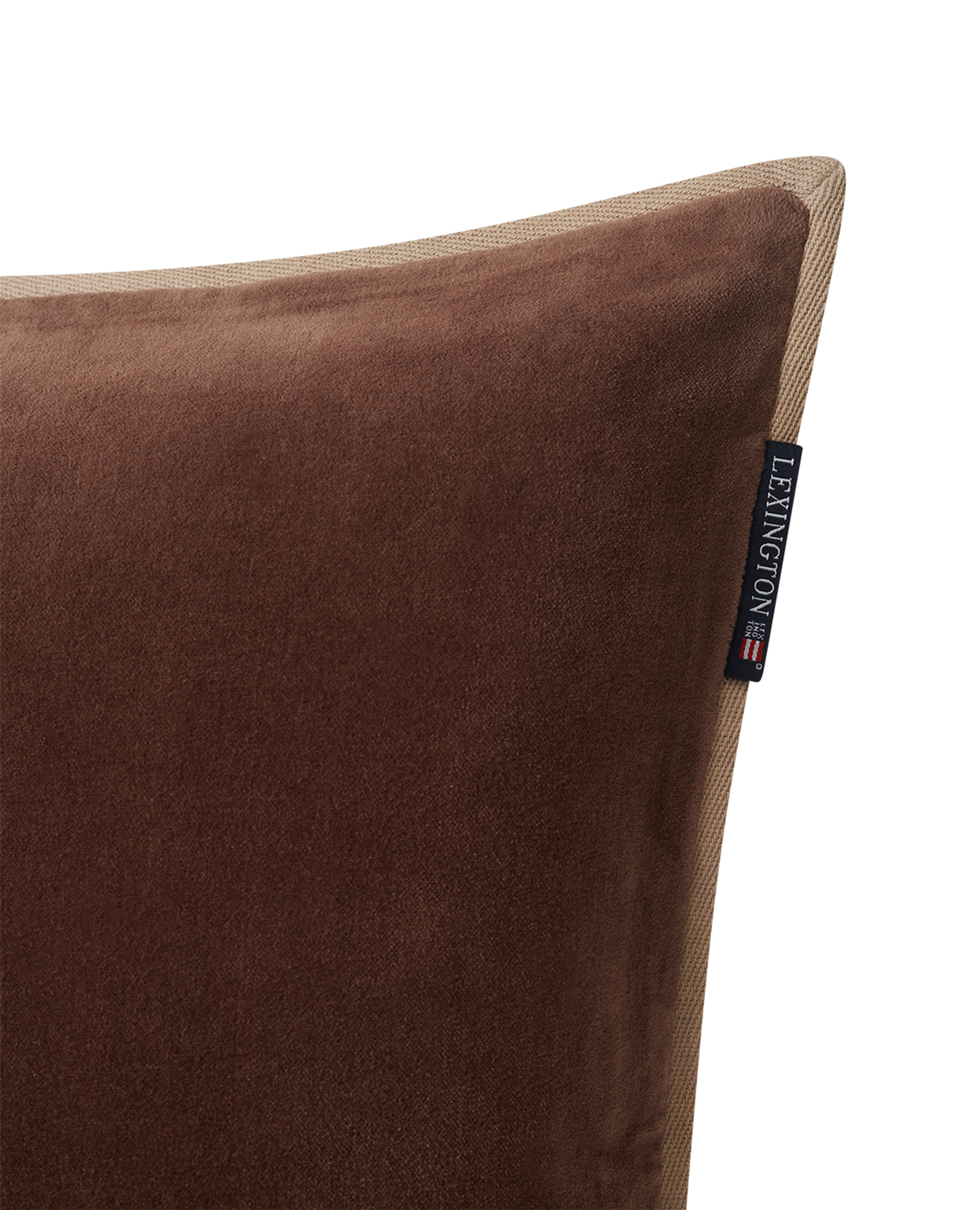 Velvet Cotton Pillow Cover With Edge, Brown