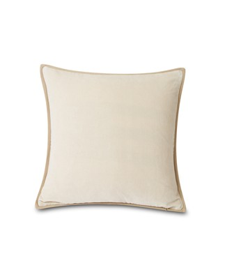 Velvet Cotton Pillow Cover With Edge, Off White
