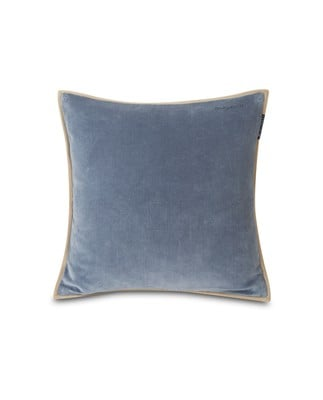 Velvet Cotton Pillow Cover With Edge, Steel Blue