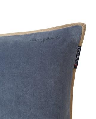 Velvet Cotton Pillow Cover With Edge, Steel Blue