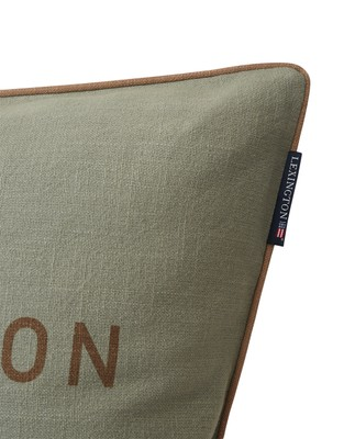 Green Lexington Logo Canvas Cotton Pillow Cover