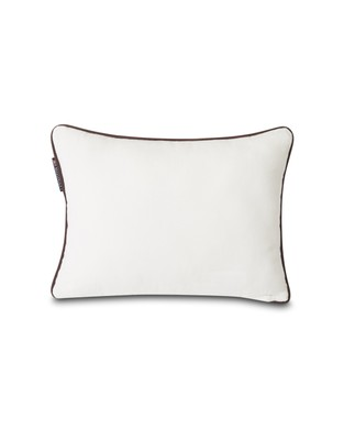 White Lexington Logo Cotton Twill Pillow Cover