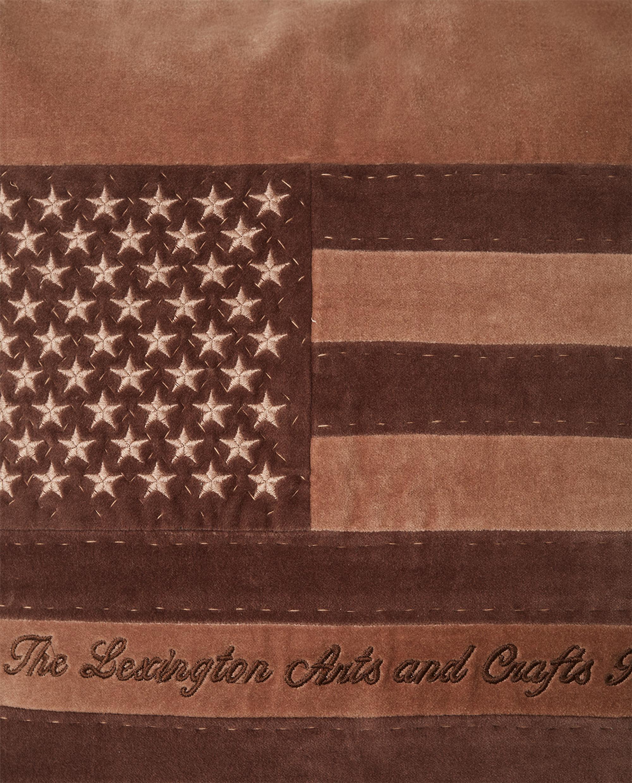 Arts & Crafts Cotton Velvet Pillow Cover, Brown