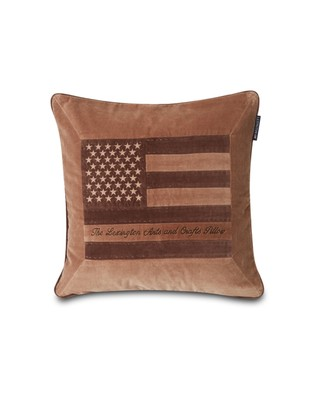 Arts & Crafts Cotton Velvet Pillow Cover, Brown