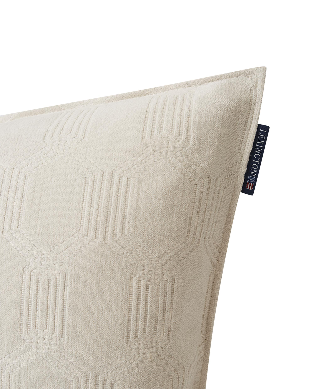 Jacquard Cotton Velvet Pillow Cover 50x50cm, Off White