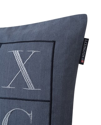 Herringbone Lexington Logo Pillow Cover, Blue