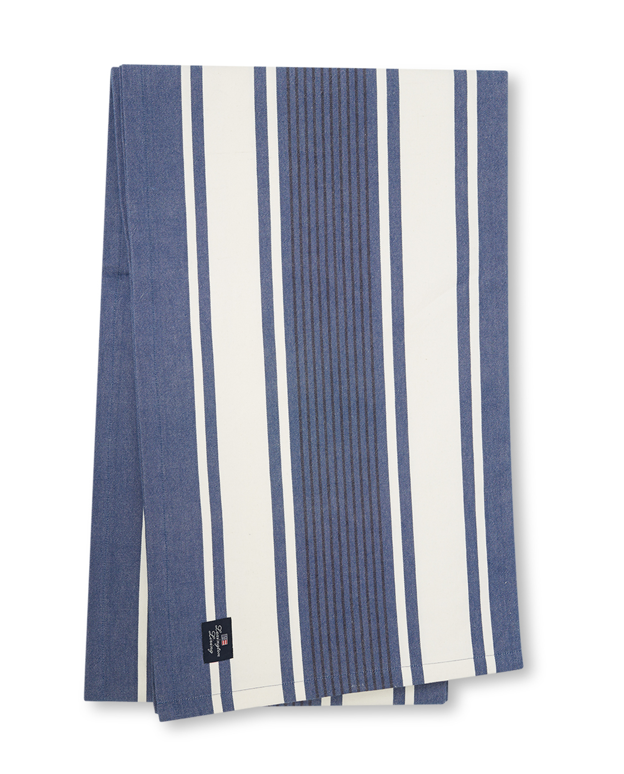 Striped Cotton Twill Tablecloth, Blue/White