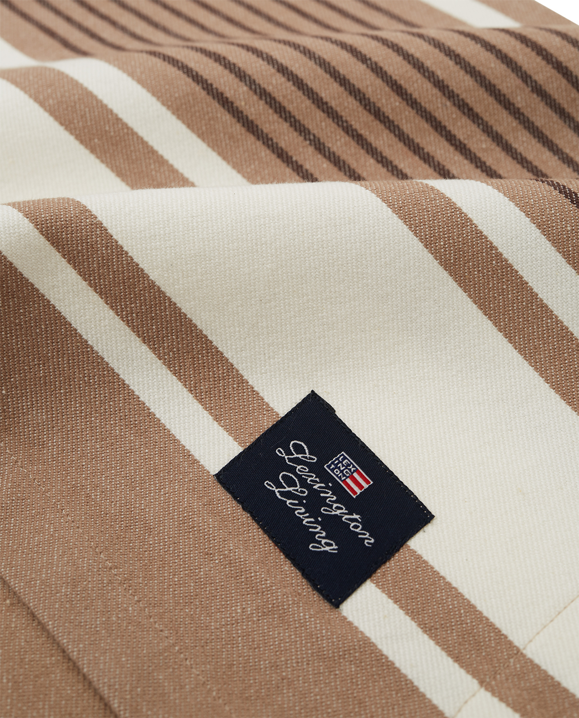 Striped Cotton Twill Tablecloth, Beige/White
