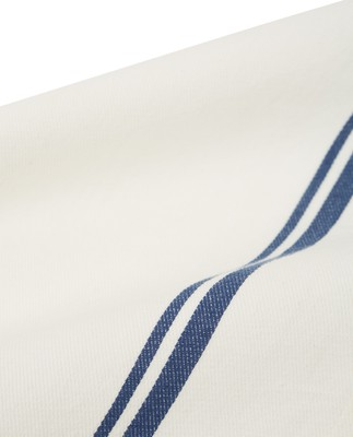 Cotton Twill Napkin With Stripes, White/Blue