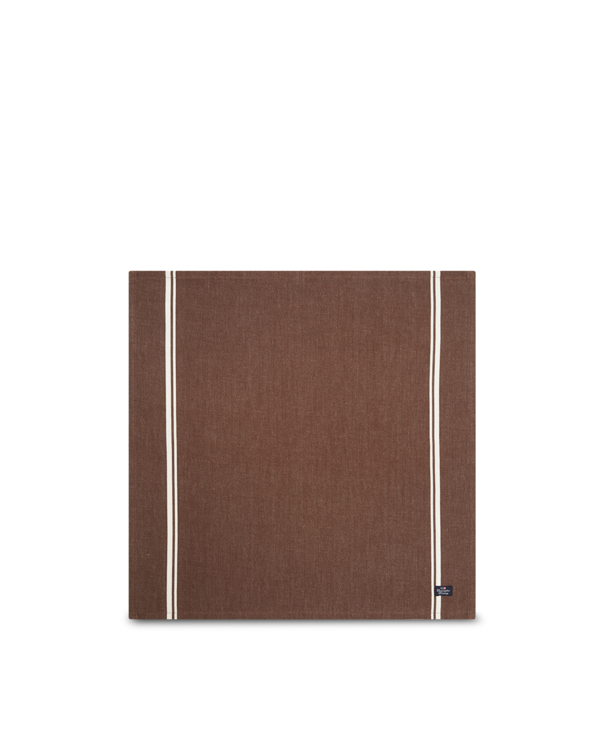 Cotton Twill Napkin With Stripes, Brown/White