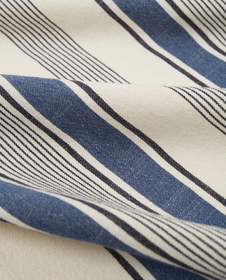 Striped Cotton Twill Kitchen Towel, White/Blue
