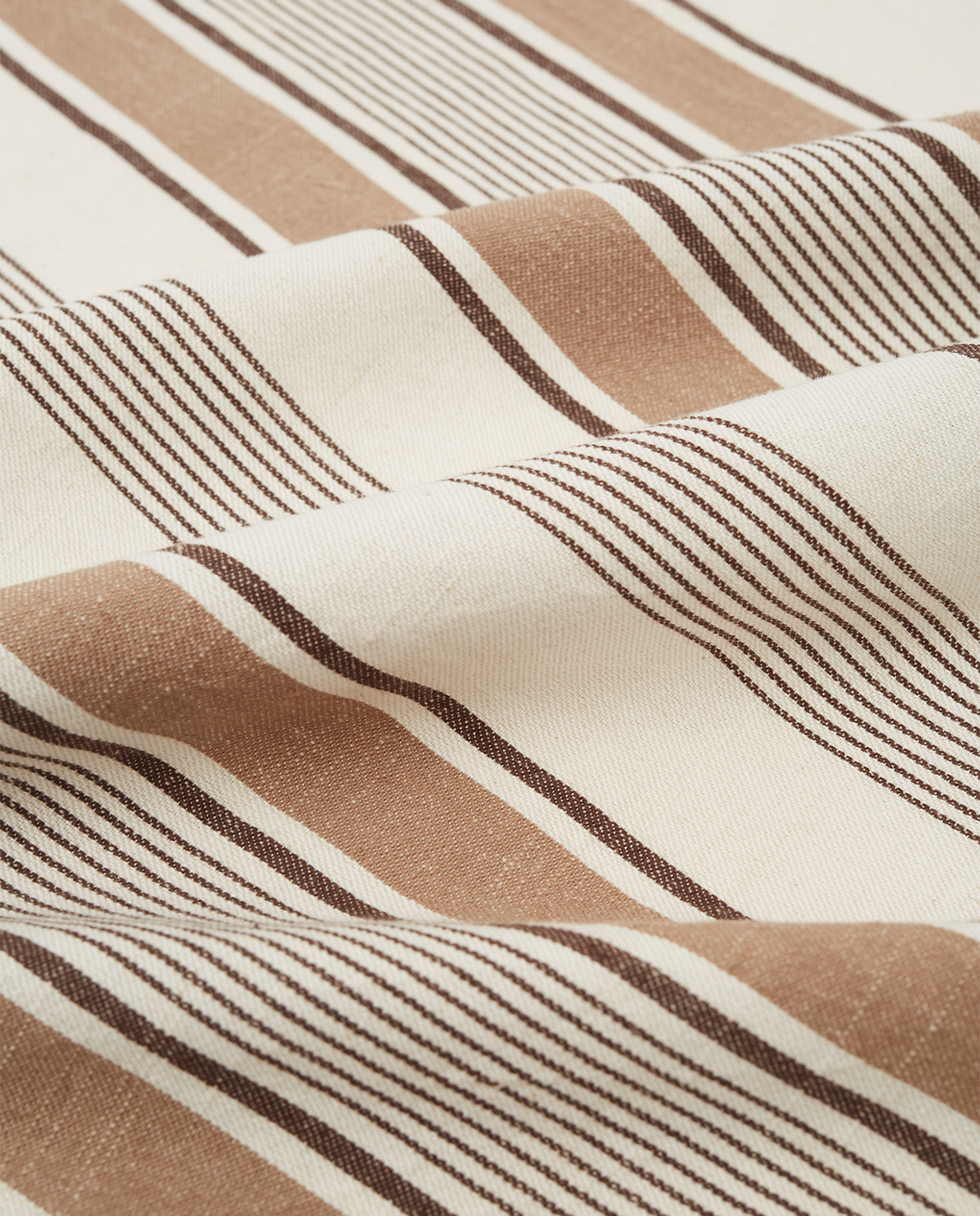 Striped Cotton Twill Kitchen Towel, White/Beige