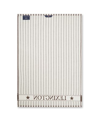 Striped Classic Cotton Twill Kitchen Towel, Brown/White