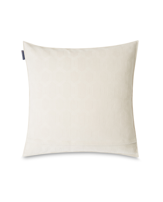 Jacquard Cotton Velvet Pillow Cover 65x65cm, Off White