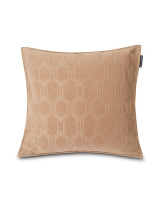 Jacquard Cotton Velvet Pillow Cover 65x65cm, Dark Beige