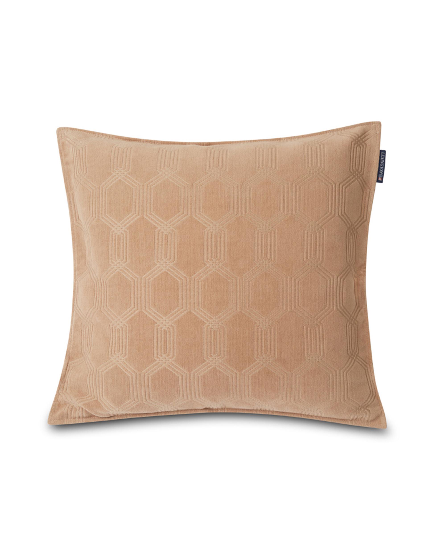 Jacquard Cotton Velvet Pillow Cover 65x65cm, Dark Beige