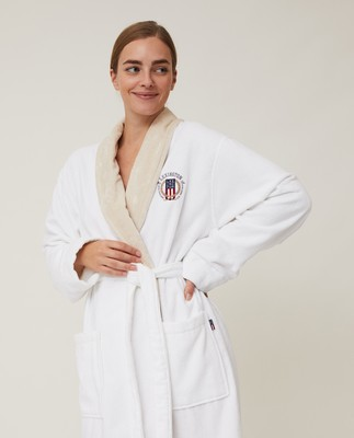 Unisex Cotton Velour Contrast Robe, White/Light Beige