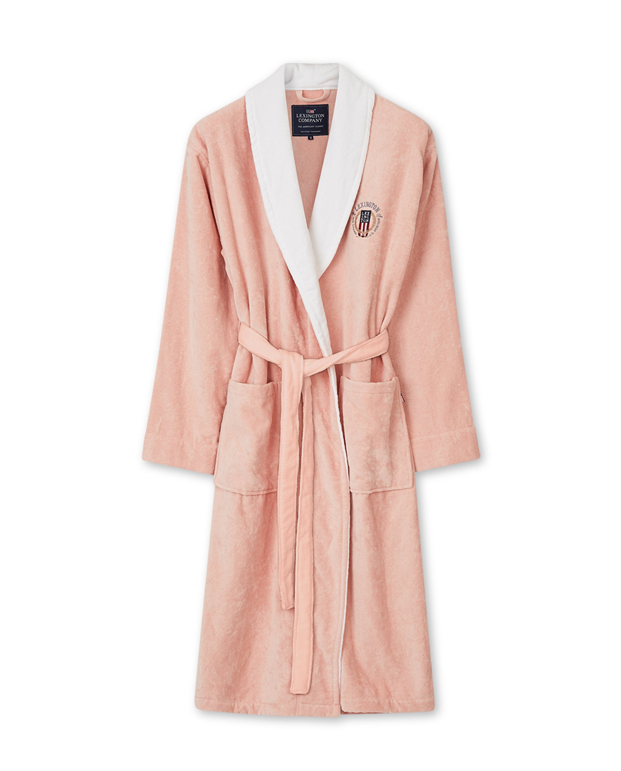Lexington Cotton Velour Contrast Robe, Pink/White