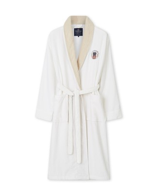 Lexington Cotton Velour Contrast Robe, White/Light Beige