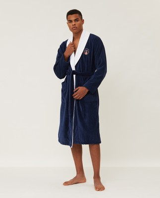 Unisex Cotton Velour Contrast Robe, Dress Blue/White