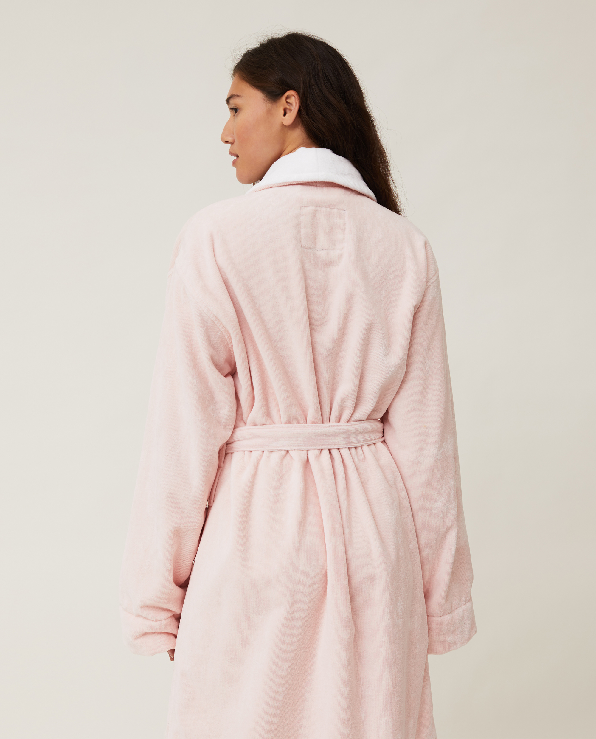 Unisex Cotton Velour Contrast Robe, Pink/White
